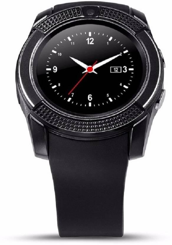 Voltegic ™ V8 Circular Touch Screen Support SIM Card, 32GB TF Card MP3 Black Smartwatch