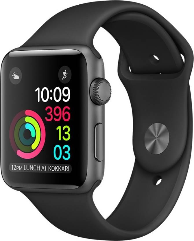 Apple Watch Series 1 - 42 mm Space Grey Aluminium Case with Black Sport Band  (Black Strap Medium)