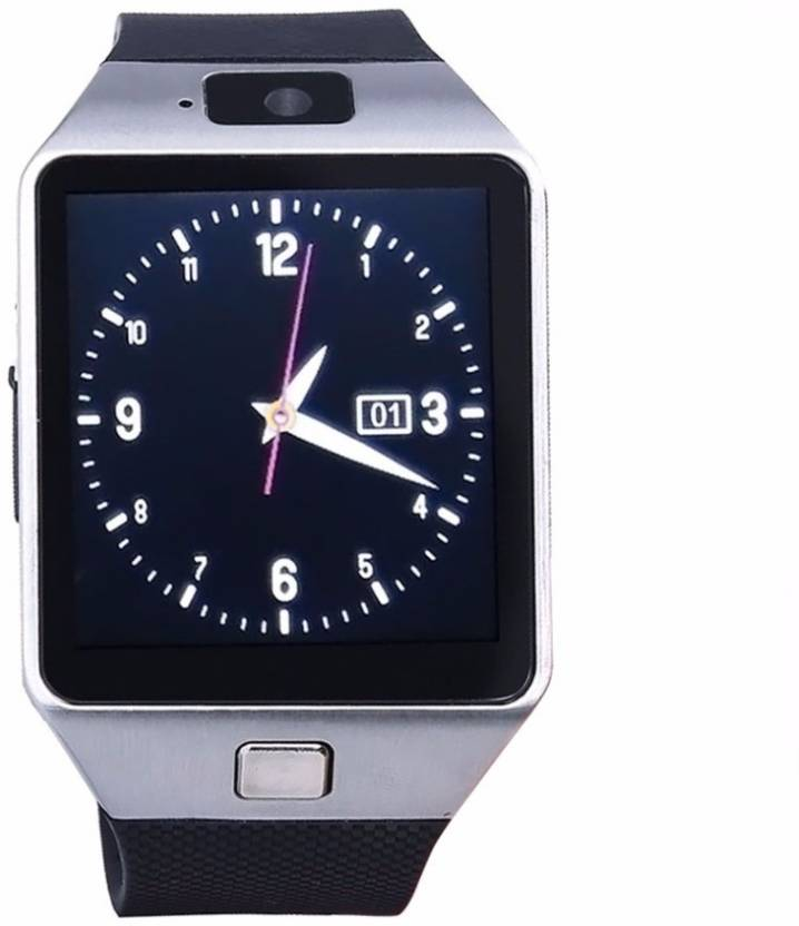VibeX ™ DZ-09 In-Built 3G Mobile and Camera Ext. Memory card Slot Silver Smartwatch