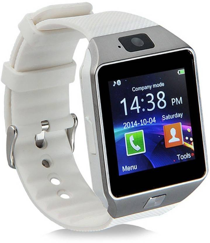 Wokit DZ09-67 Bluetooth with Built-in Sim card and memory card slot Compatible with All Android Mobiles White Smartwatch