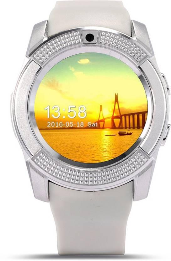 Bingo C6 White Bluetooth Smartwatch  (White Strap Regular)