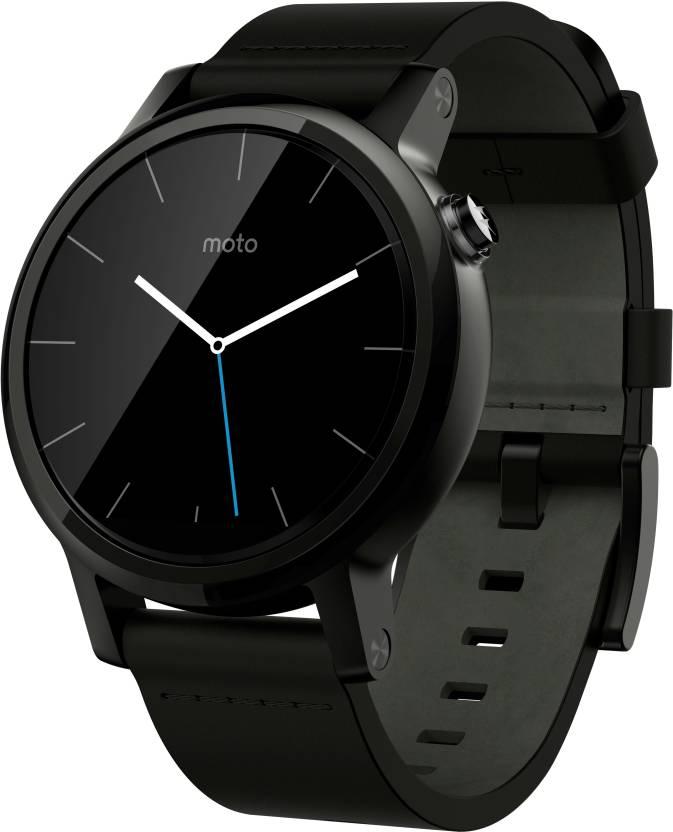Motorola Moto 360 2nd Gen (42 mm) for Men Black Leather Smartwatch