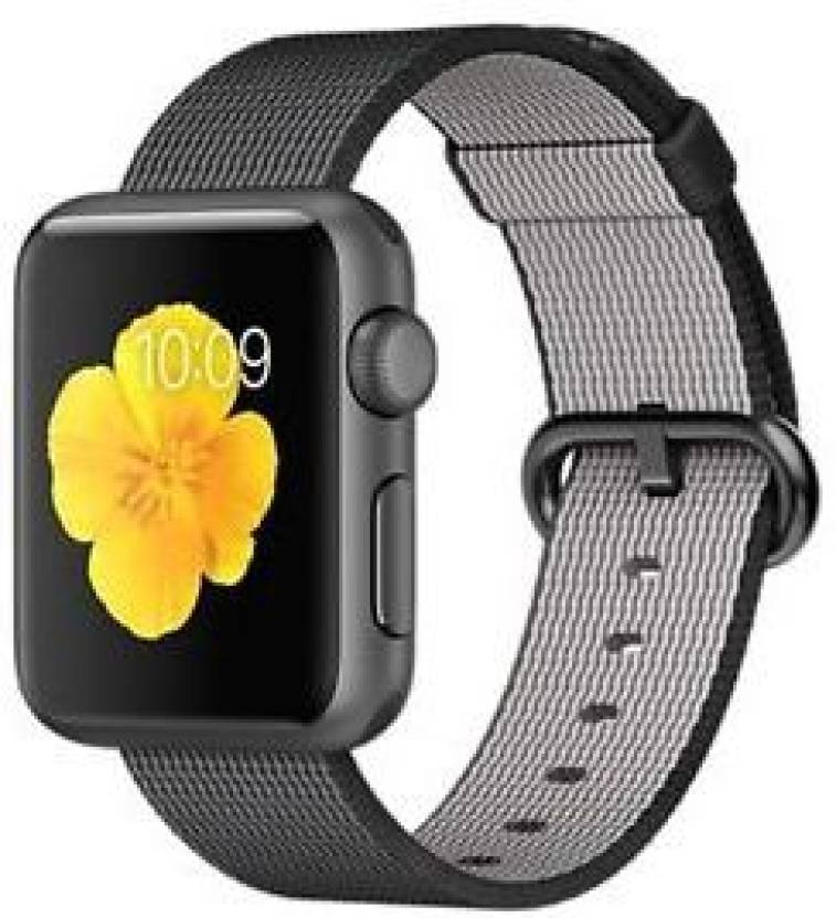 Apple Watch 38mm Space Gray Aluminium with Black Woven Nylon Strap Grey Smartwatch