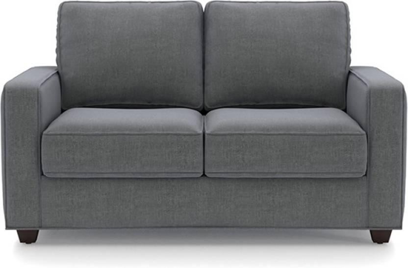 Urban Ladder Apollo Compact Fabric 2 Seater Sofa Finish Color   Smoke