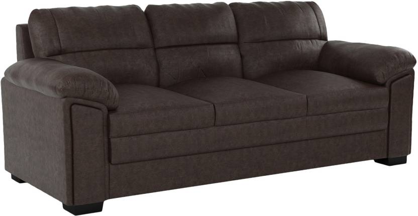Housevivo Guide Three Seater Brown Color Sofa Leatherette 3 Seater ...