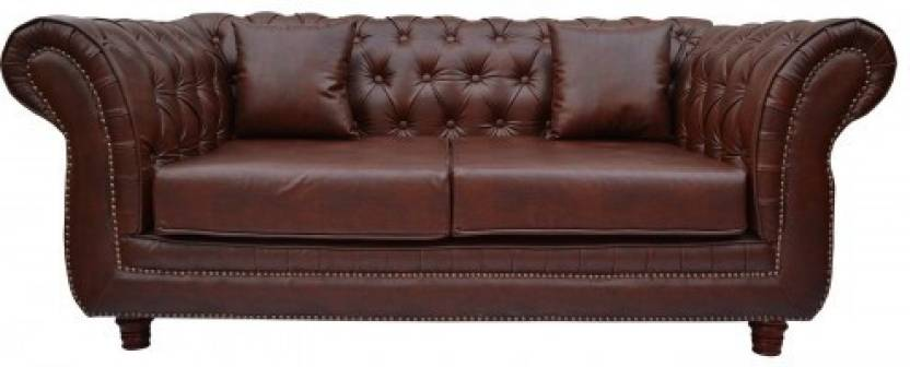 Furnstyl English Chesterfield Leatherette 2 Seater Sofa