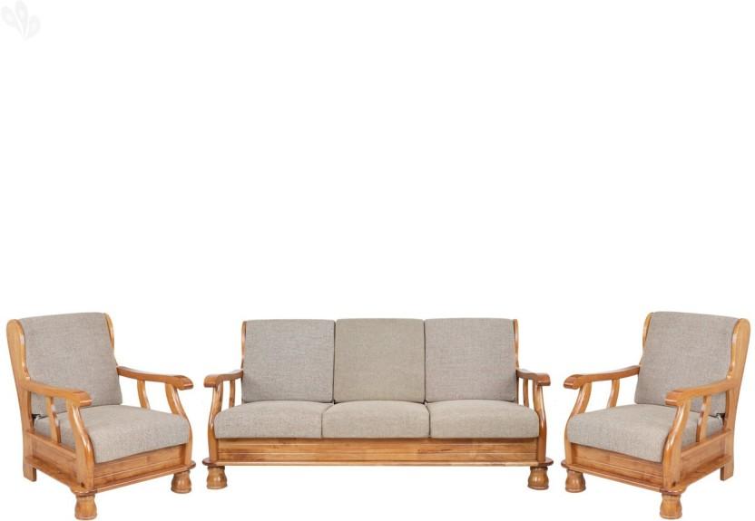 RoyalOak Vita Fabric 3 + 1 + 1 Natural Brown Sofa Set
