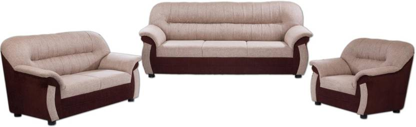 Furnicity Fabric 3 + 2 + 1 Brown Sofa Set