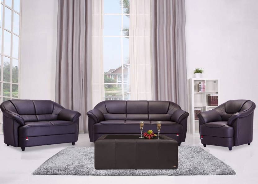 Durian Berry 55001 C Leatherette 3 2 1 Coffee Brown Sofa Set