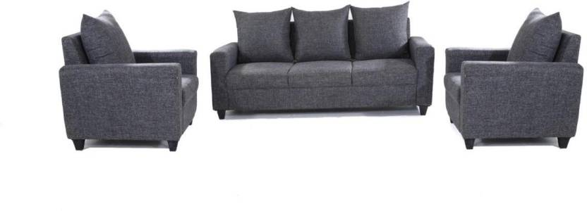 Furnicity Fabric 3 + 1 + 1 Grey Sofa Set