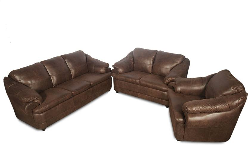 Rej Interio Jineiro Leatherette 3 2 1 Brown Sofa Set Price In India Online At