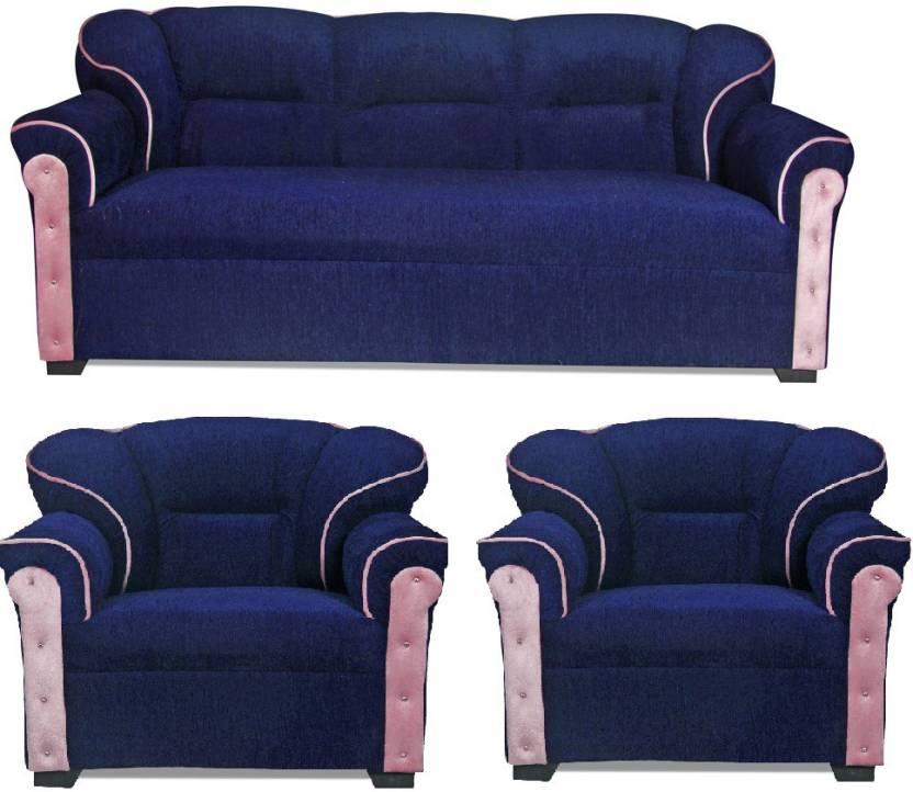HOMESTOCK Fabric 3 + 1 + 1 Blue Sofa Set