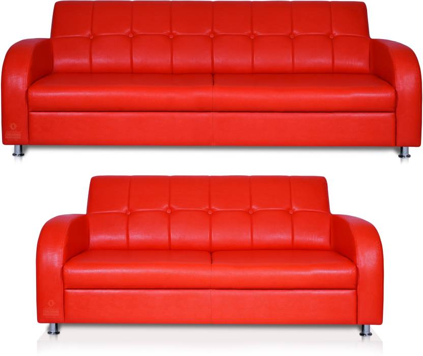 Dolphin Leatherette 3 + 2 Red Sofa Set