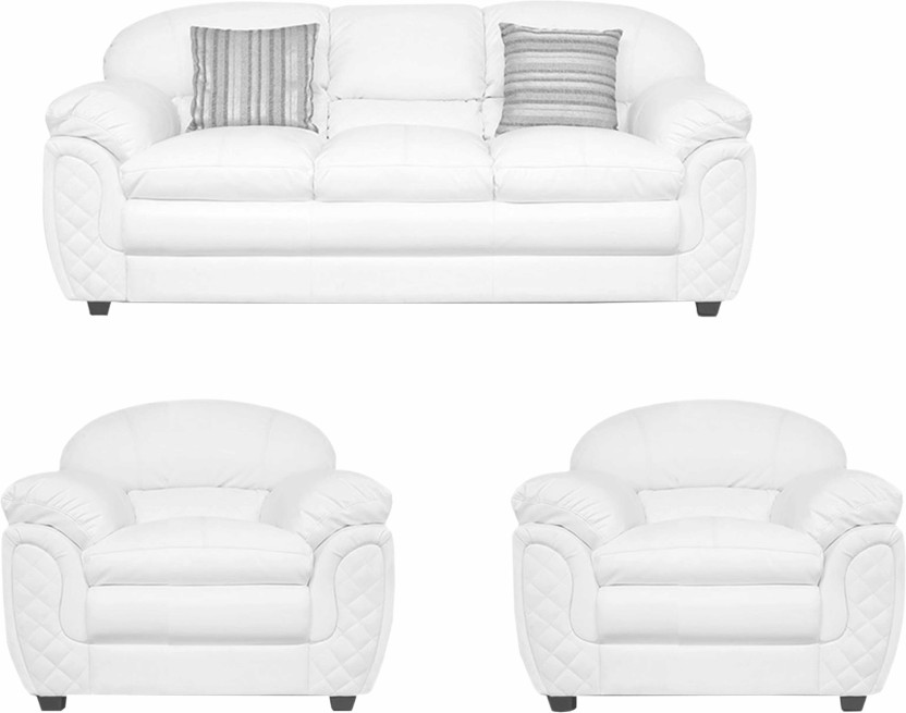 ELEGANT FURNITURE Leatherette 3 + 1 + 1 WHITE Sofa Set