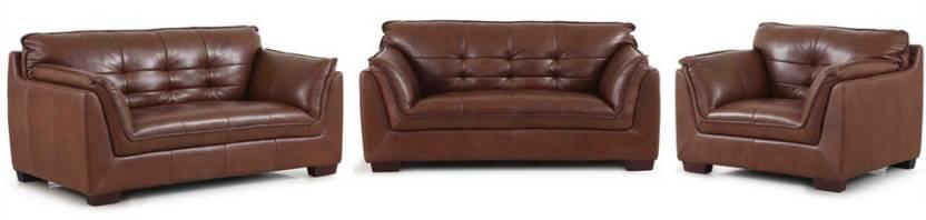 Evok Barclay Sofa Set 3 2 1 Seater In Dark Ton Leather 3 2 1