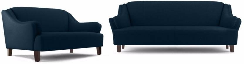 Fabhomedecor Austin Fabric 3 + 2 Dark Blue Sofa Set
