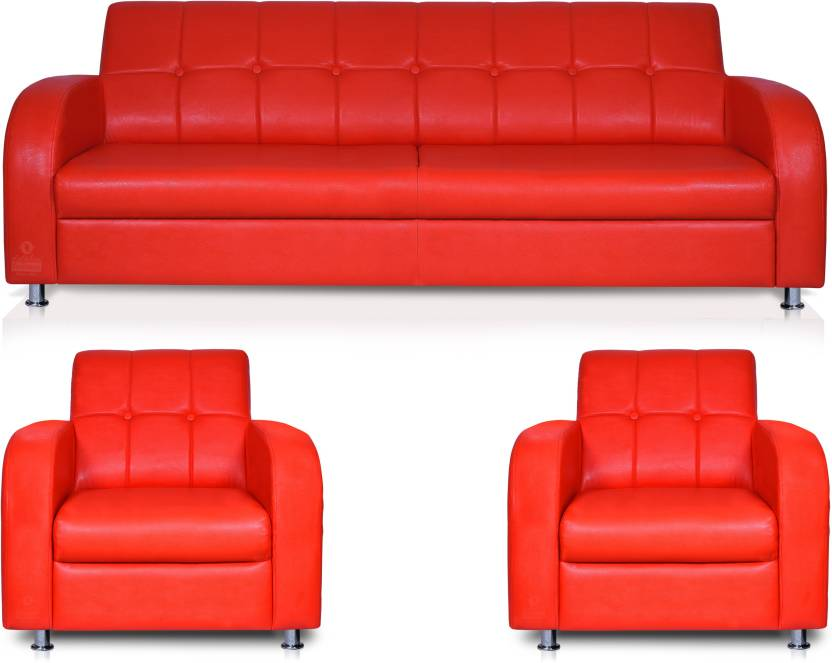 Dolphin Leatherette 3 + 1 + 1 Red Sofa Set