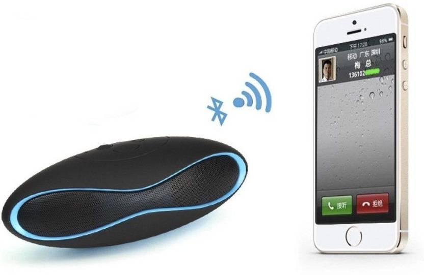 VibeX ® Mini X6 Portable™ Rugby Shaped Digital Sucker Blue Wireless Subwoofer Loudspeakers Boombox Sound box-in Portable Bluetooth Laptop/Desktop Speaker