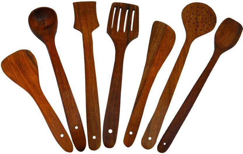 Craftgasmic Disposable Wooden Cooking Spoon Set (Pack Of 7)