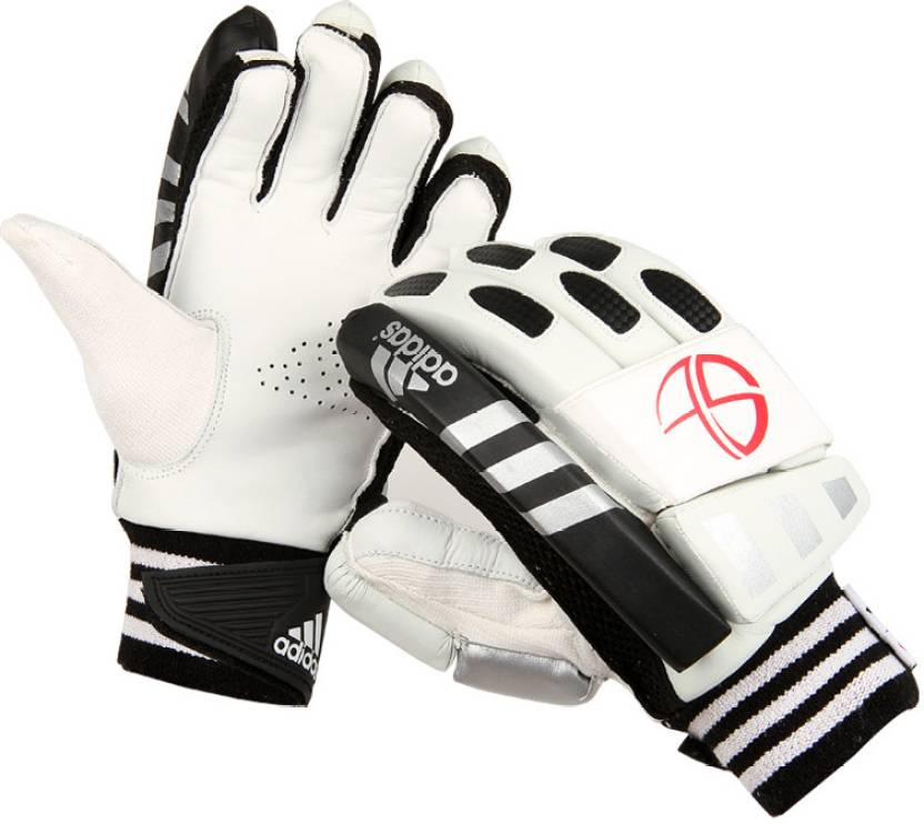 Adidas ST Club Batting Gloves (White, Black, Silver)