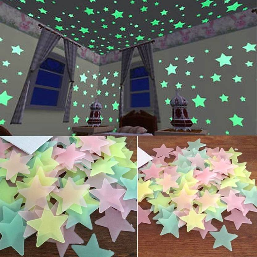 Stickonn Small Multi Colour Fluorescent Glow In The Dark Star Wall