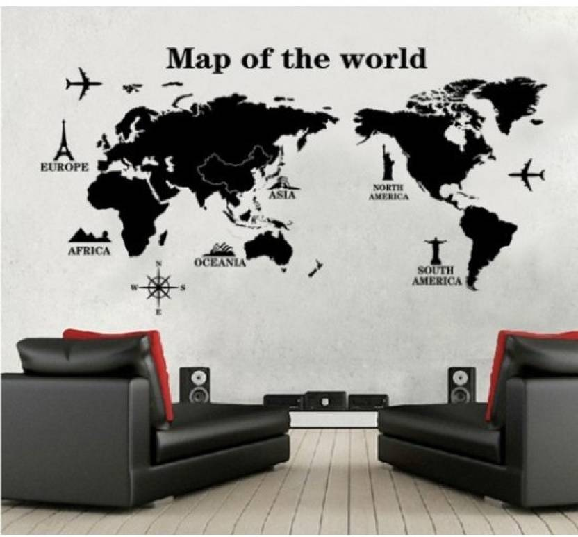 oren empower map of the world decorative wall sticker price in india