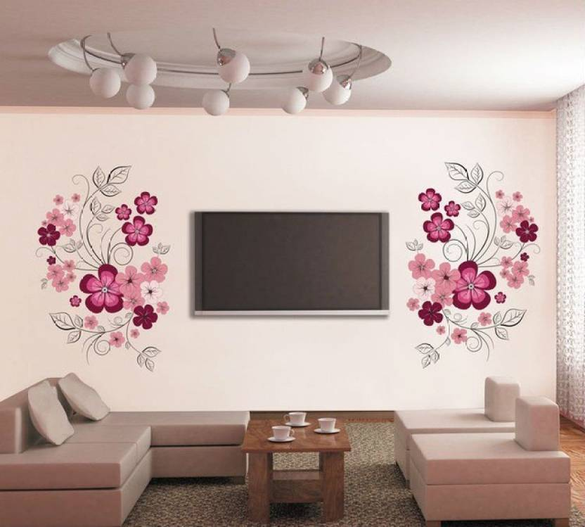 Oren Empower Very Sweet Decorative Pink Flower Wall Sticker Price In