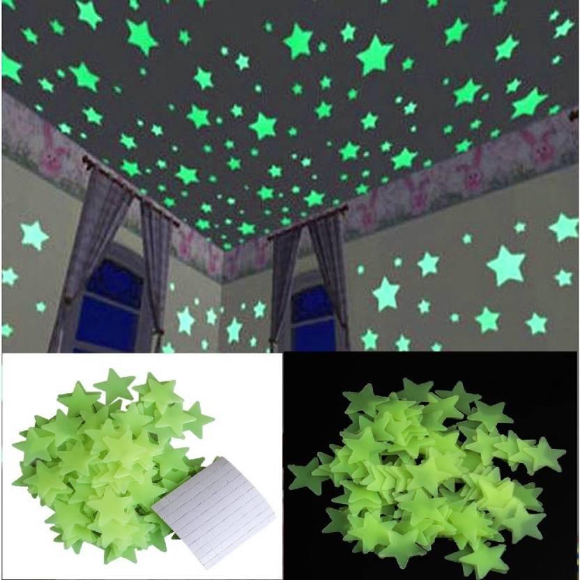 Stickonn Small Green Colour Fluorescent Glow In The Dark Star Wall Sticker