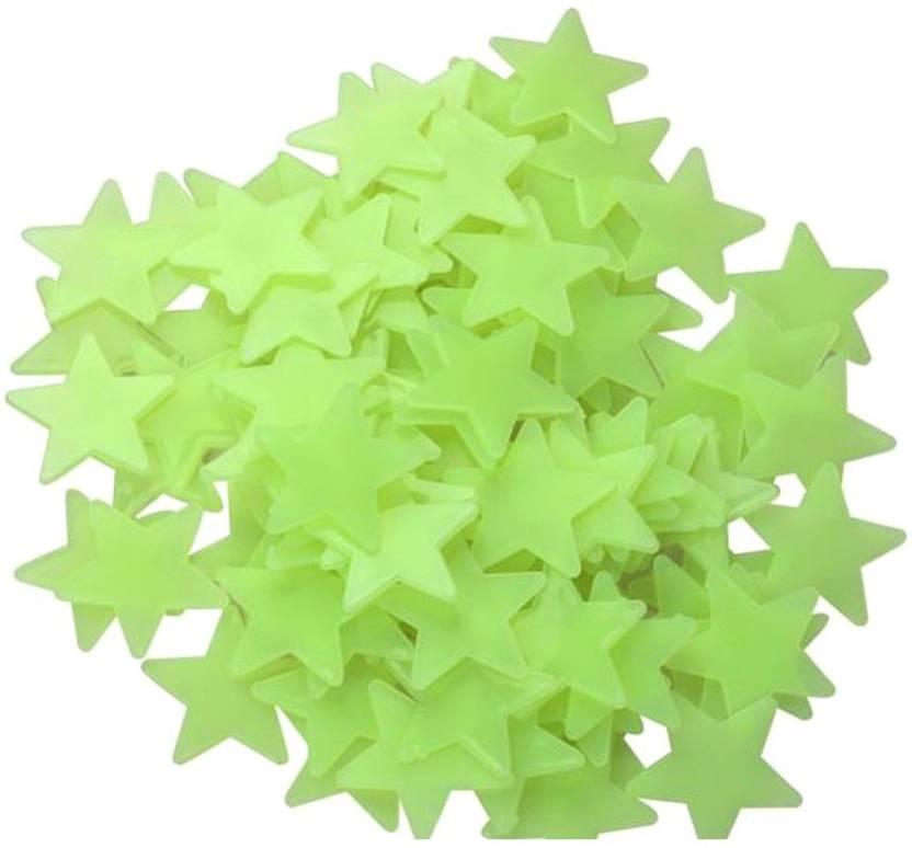 Stickonn Um Green Fluorescent Glow In The Dark Star Wall Sticker