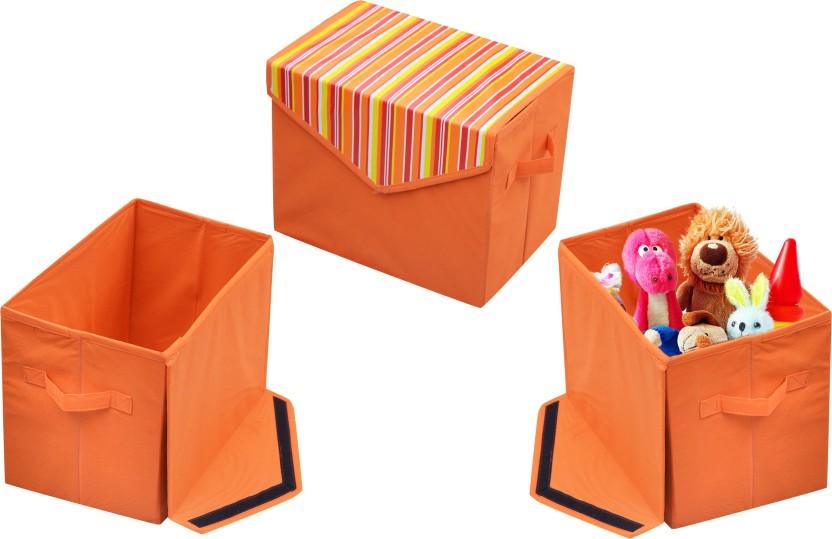 Small Bacati Playful Foxs Storage Box Orange//Grey