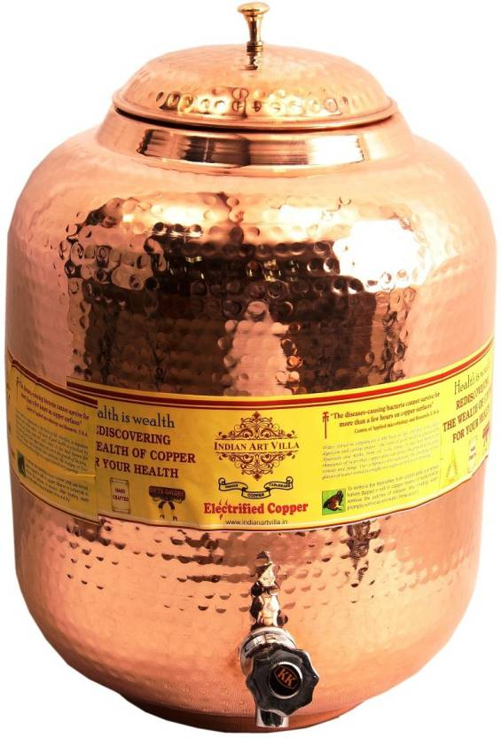 IndianArtVilla Copper Water Pot Dispenser Tank With Tap - 10 L Copper  Grocery Container
