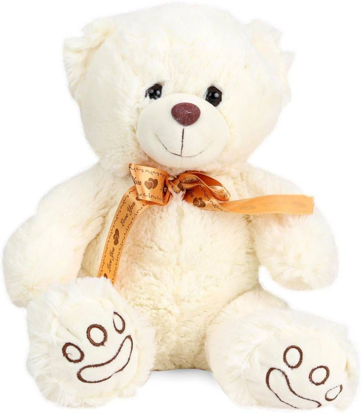 Starwalk Bear Plush White colour with Bronze Ribbon 40 cm  - 40 cm