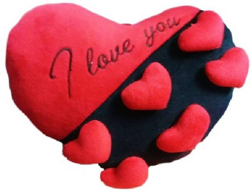 "Candy Galiyara ""I Love You"" Heart Pillow Valentine with 3-D Hearts - 10 inch (Red)"