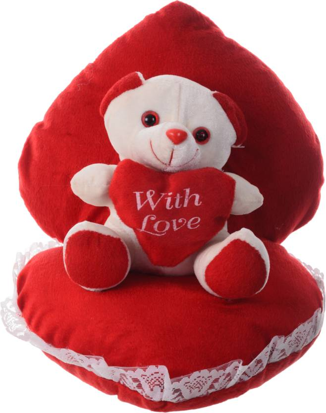 c8c2fcbb Joymart Romatic Teddy bear with heart shape back cusion. Specially for  valentine or special ones - 28 cm