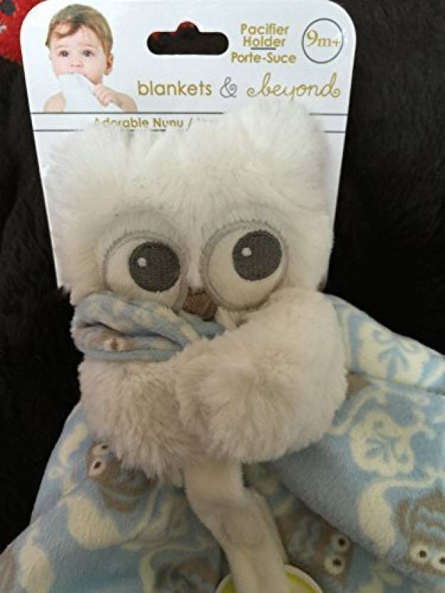9391f36d4d Blankets and Beyond White Owl With Blue Nunu (Security Blanket) With  Pacifier