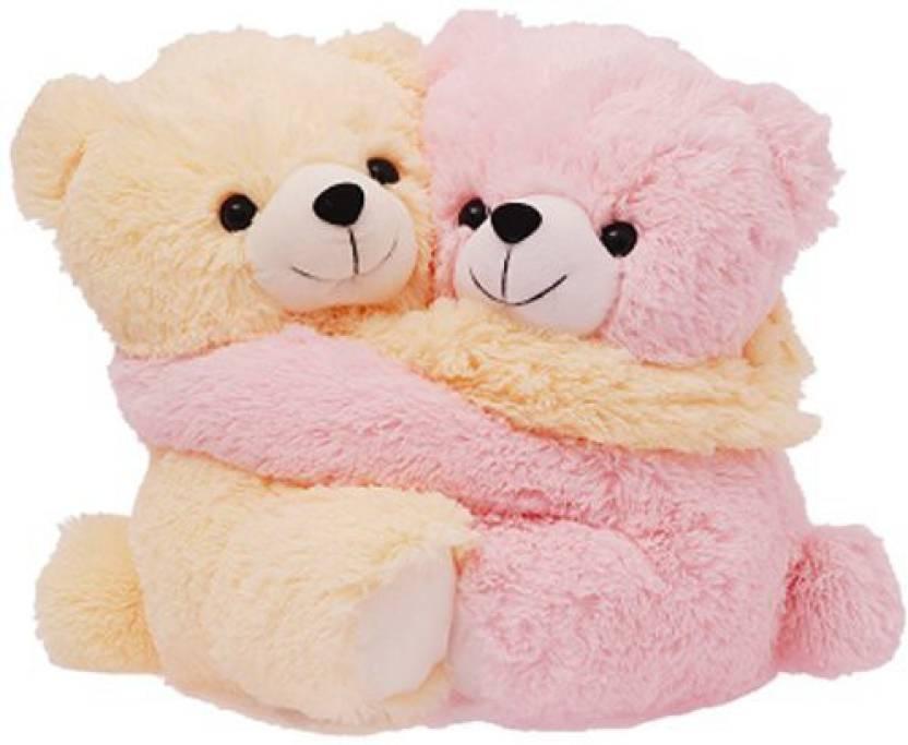 MGPLifestyle Couple Bear Hug Teddies - 9.8 inch (Brown, Pink)