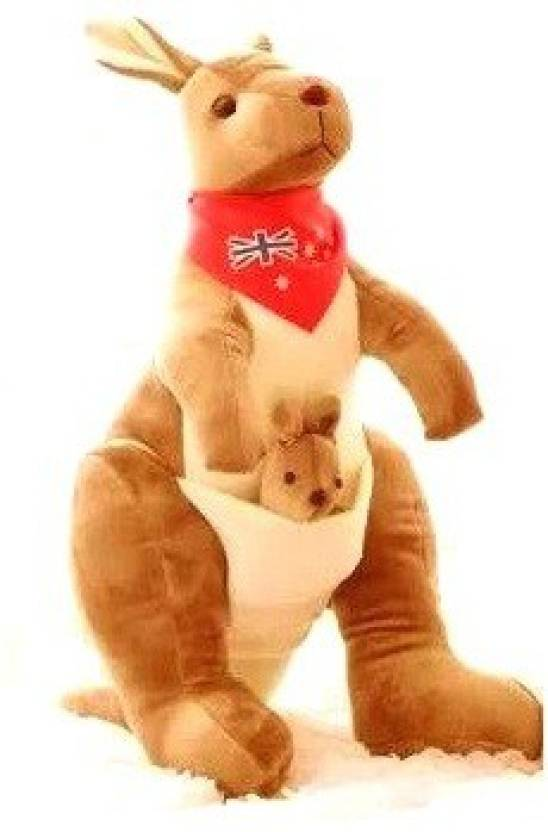 Toynjoy Cute Soft Brown White Kangaroo With Baby Stuffed Toy 30