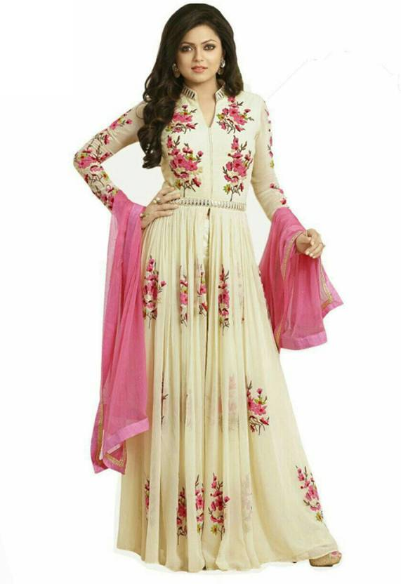 1d35a834b59 Ninecolours Bollywood Drashti Dhami Georgette Party Wear Pant Style In  Cream Colour Solid Women s Suit - Buy Ninecolours Bollywood Drashti Dhami  Georgette ...