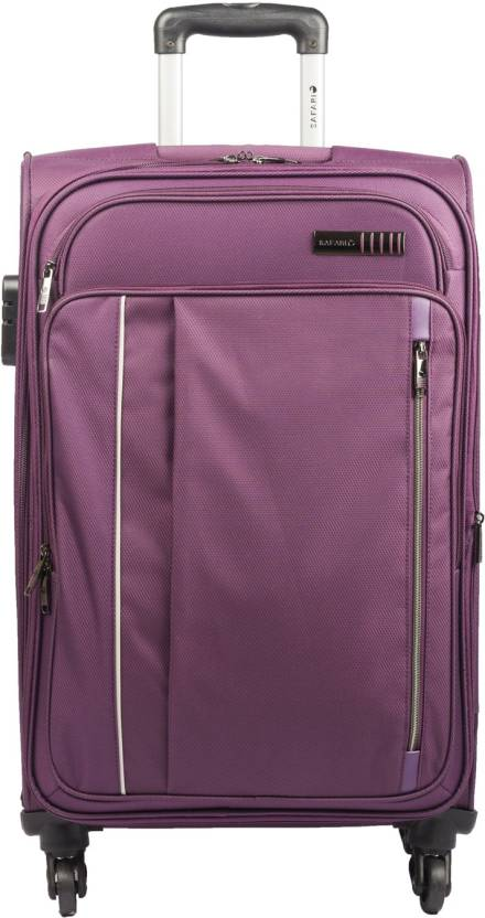 fcabe998802 Safari Water resistance 4 Wheel Trolley Bag Expandable Cabin Luggage - 22  inch (Purple)