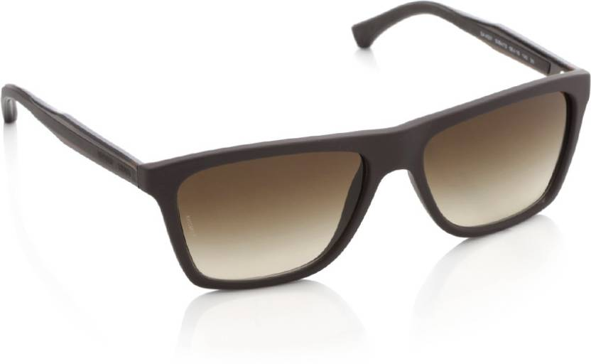 55f80402f4c2 Buy Emporio Armani Rectangular Sunglasses Brown For Men Online ...