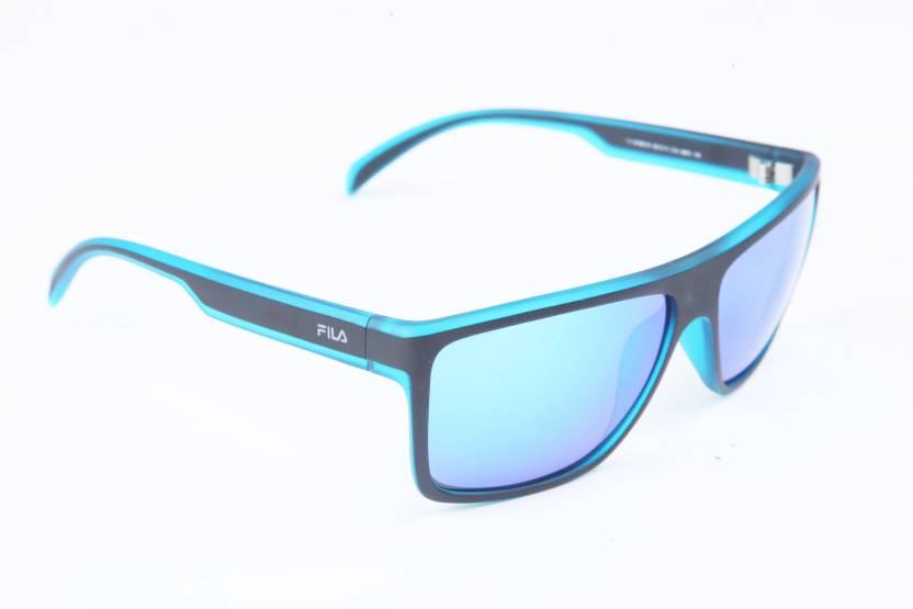 f9504036f073 Buy Fila Rectangular Sunglasses Blue For Men Online @ Best Prices in ...
