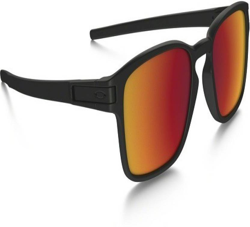 Oakley Latch Squared >> Buy Oakley Latch Squared Wayfarer Sunglass Grey Red For Men Women