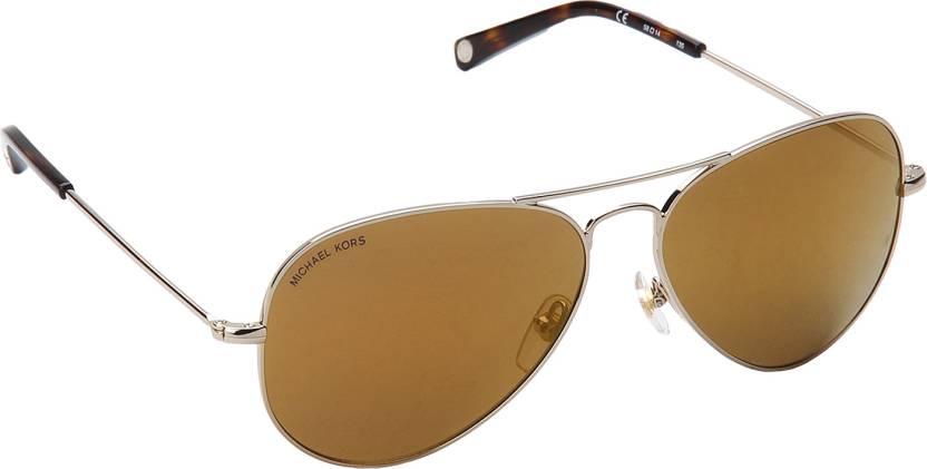 55a64de528 Buy Michael Kors Aviator Sunglasses Brown For Men   Women Online ...