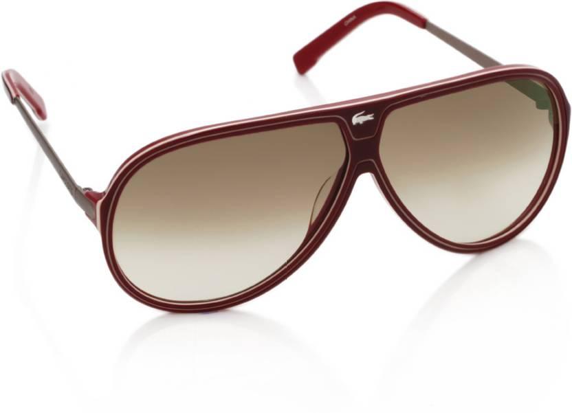 6aa232922e49 Buy Lacoste Aviator Sunglasses Brown For Men   Women Online   Best ...
