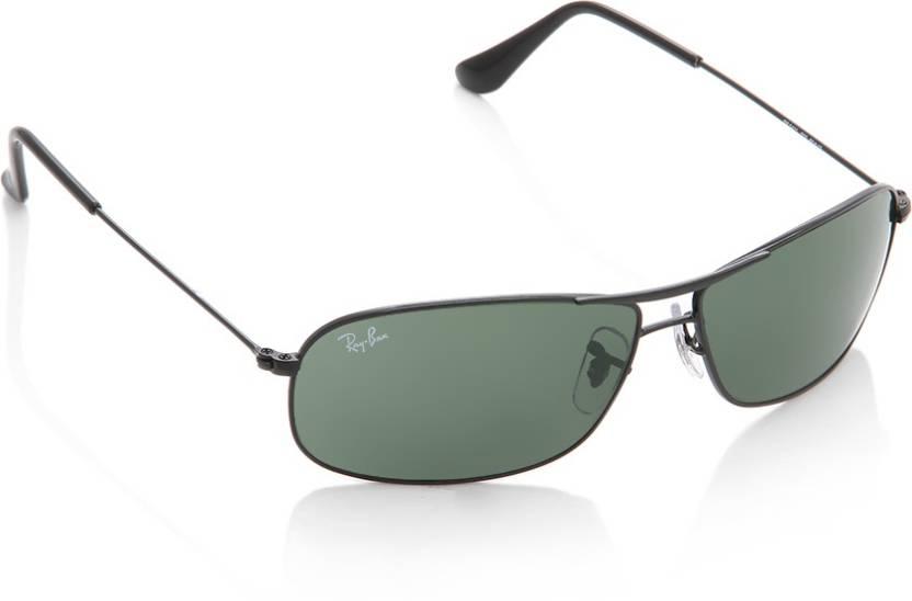 c49a04a401 Buy Ray-Ban Rectangular Sunglasses Green For Men Online   Best ...