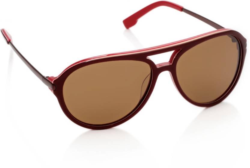 2bb59d253210 Buy Lacoste Aviator Sunglasses Brown For Men   Women Online   Best ...