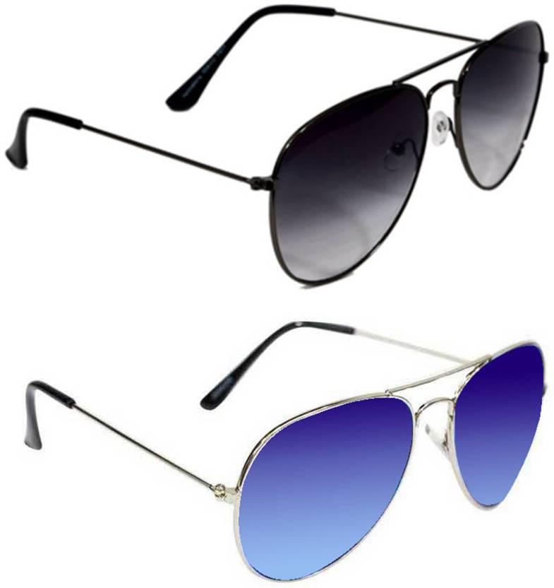 Epic Ink Aviator Sunglasses  (Black, Blue)