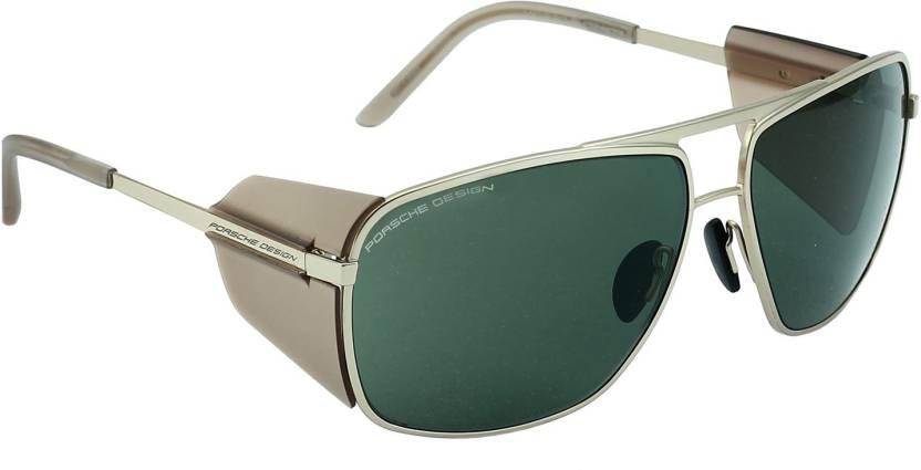 e5ed4e23c37e36 Buy Porsche Design Rectangular Sunglasses Green For Men Online ...