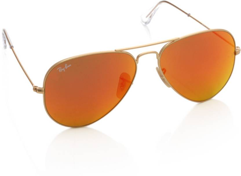 64b7c6ec63c Buy Ray-Ban Aviator Sunglasses Orange For Women Online   Best Prices ...