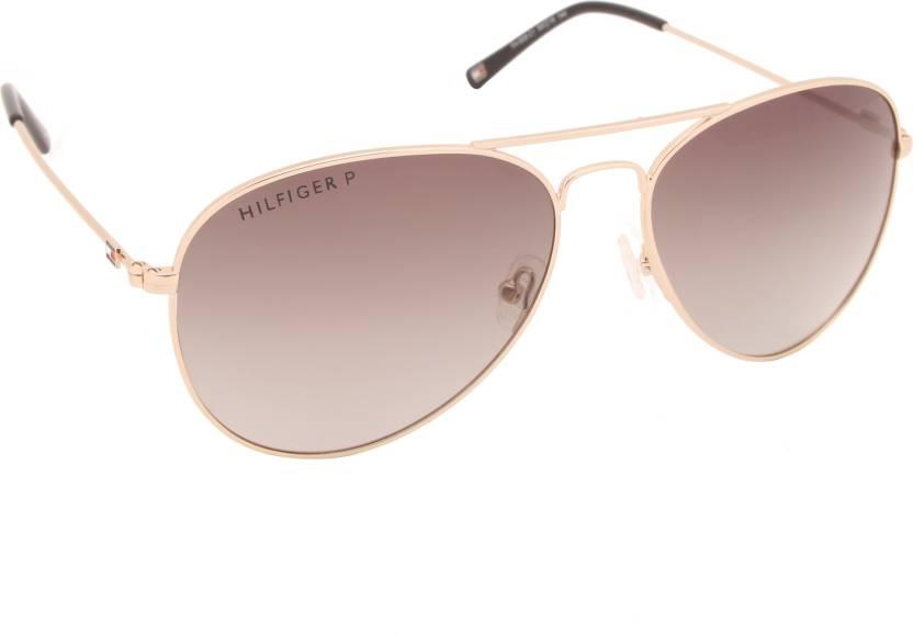 Buy Tommy Hilfiger Aviator Sunglasses Brown For Men Online @ Best ...